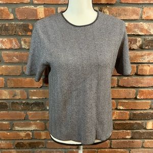 NWT Zara Knit S/S Herringbone Crewneck Sweater
